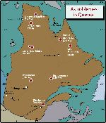 Location of meteorite or fossil craters in Québec.
